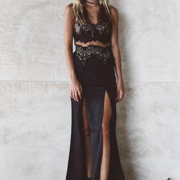 In the Night Black Silhouette Maxi Dress