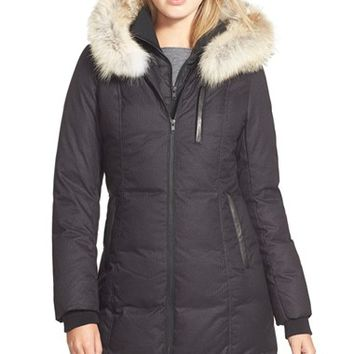 Women's Soia & Kyo 'Chrissy' Print Down Parka with Genuine Leather & Coyote Fur Trim,