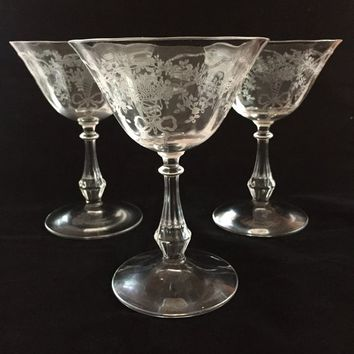 Fostoria Etched Crystal Champagne Coupes, Set of 3 Fostoria Corsage Pattern Coupe Glasses, Vintage Crystal Stemware