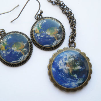 Earth jewelry set, resin jewelry, antique brass necklace, Earth pendant, Earth earrings, photo jewelry, Terra jewelry, planet jewelry