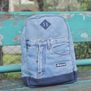 Ocean blue recycled jeans backpack, genuine leather - denim - laptop backpack