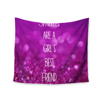 "Beth Engel ""Sparkles are a Girls Best Friend"" Purple Glitter Wall Tapestry"