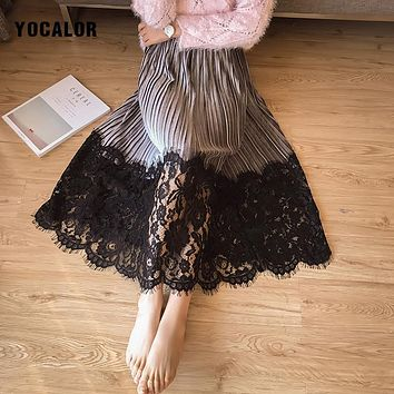YOCALOR Elegant Pleated Lace Patchwork Midi Women Long Warm Skirts High Waist Winter Maxi Black Vintage Embroidered Fluffy Skirt