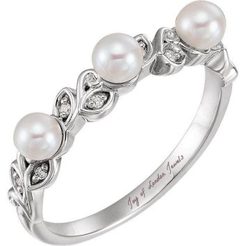 14K Rose Yellow White Gold & Natural Mined Diamond Pearl Stackable Leaf Pattern Ring