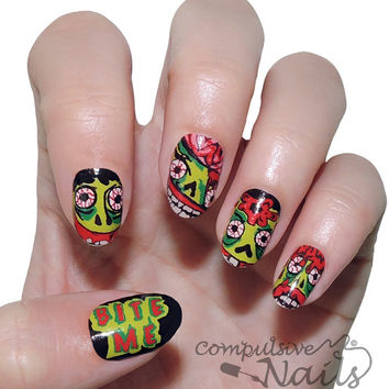 Bite Me- Zombie Nail Polish Strips. Nail Wraps. Nail Decals.