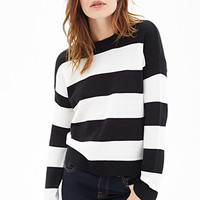 FOREVER 21 Rugby Striped Crew Neck Sweater Black/White