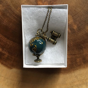 Globe Charm Necklace, Binoculars Necklace, Earth Day Necklace, Traveler Gift. Study Abroad Gift