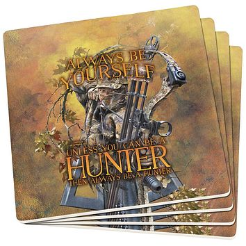 Always Be Yourself Unless Bow Hunter Set of 4 Square Sandstone Coasters