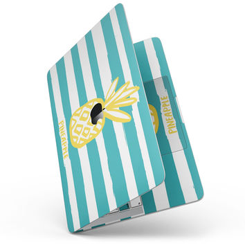 "Striped Mint and Gold Pineapple - 13"" MacBook Pro without Touch Bar Skin Kit"