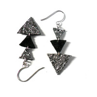 Triangle leather earrings, geometric silver and black arrows