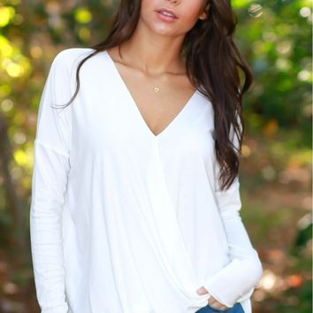 Keep It Real Wrap Blouse Off White