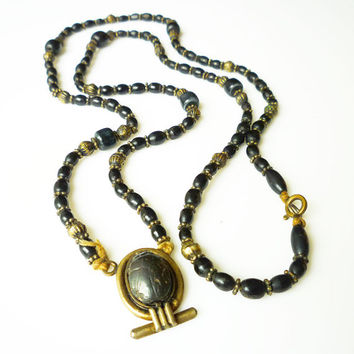 Egyptian Revival Necklace Scarab Black Metal Bead Vintage Jewelry