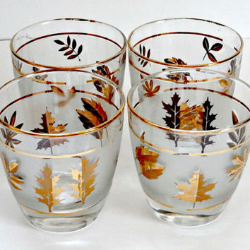 Vintage set of four madmen style lowball whiskey glasses with autumn leaf motif and gold trim retro antique gold frosted drinking glasses