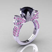 French 14K White Gold 3.0 CT Black Diamond Light Pink Sapphire Engagement Ring, Wedding Ring R382-14KWGLPSBD