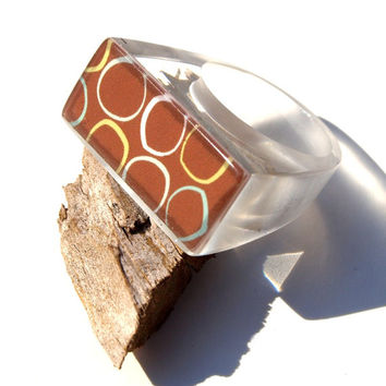 Mod Ring, Autumn Jewelry Trends, Fall Colors Ring, Wearable Art Jewelry, ResinHeavenUSA