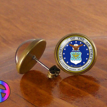 US United States Air Force Military Earrings Stud Jewelry Men Mens Women Gift