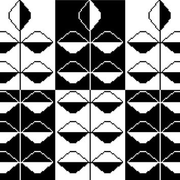 Contemporary negative/positive silhouette cross stitch pattern. Mid century modern inspired stems of leaves monochrome design.