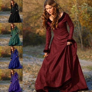 Women Vintage Medieval Dress Cosplay Costume Princess Renaissance Gothic Dress 2017 girl lady fashion winter Floor-Length dress