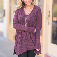 Keep In Touch Sweater, Plum
