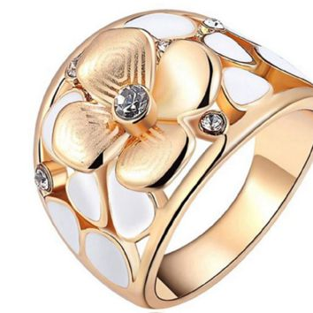 Exquisite Opal Flower Rings For Women With Genuine Austrian Crystal Rose Gold Color Party Ring