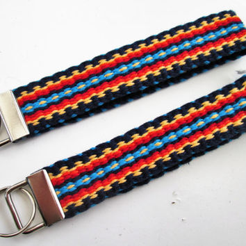 TWO Handwoven Key Chains/Key Fob, Modern Wristlet Key Chain, Luggage Tag/ID, Small Camera Wrist Strap