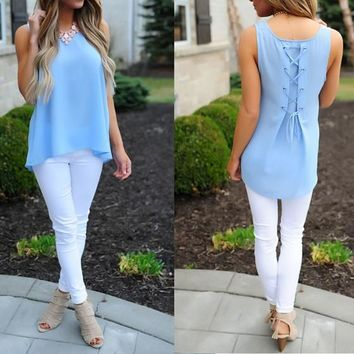 Blue Draped High-low Round Neck Sleeveless Chiffon T-Shirt