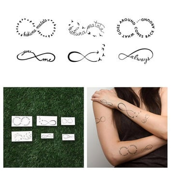 Infinity Symbol Set - Temporary Tattoo (Set of 6)