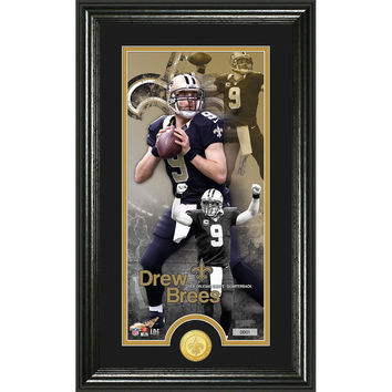 Drew Brees Supreme Bronze Coin Panoramic Photo Mint