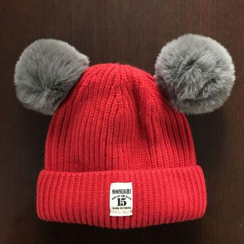 LMFUV2 Autumn and winter 5 months -3 years old baby children thicker wool hat Korean patch hair ball hat autumn and winter pullovers hat