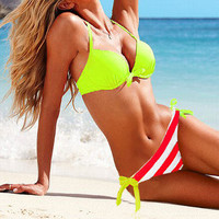 Hot New 2PCS Hit color Sexy Women Padded Swimwear Swimsuit Bikini set