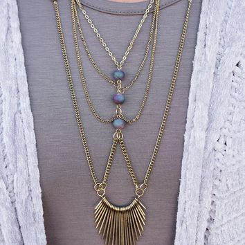 Calla Multi Layer Beaded Necklace (Gold/Purple)