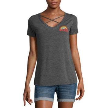 Short Sleeve V Neck Graphic T-Shirt - JCPenney