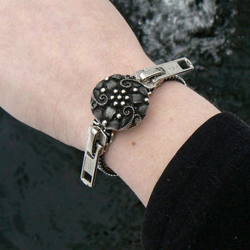 ON SALE Silver Steampunk Zipper Bracelet