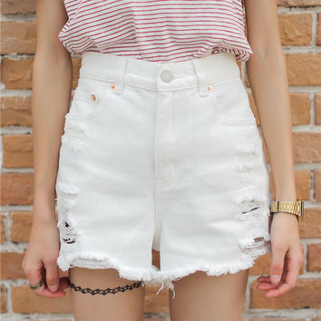 White High-waisted Ripped Denim Shorts