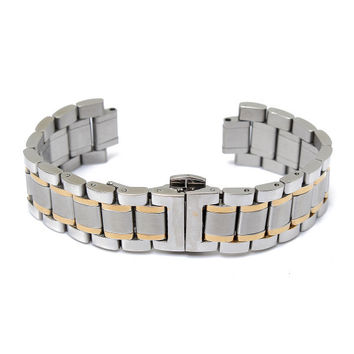 19/20mm Stainless Steel 5 Beads Double Buckle Watch Band