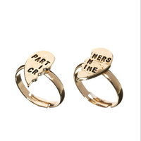 """ Partners In Crime "" Cute Friendship Heart Shape Women Birthday Gift Casual Jewelry Accessories Ring _ 2000"
