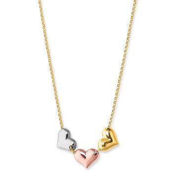 14K Tri Color Gold Puffy Hearts Charms Necklace, 17""