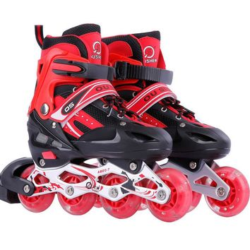 1 Pair Adult Children Inline Skate Roller Skating Shoes Adjustable Washable All Flashing Wheels Patines 3 Colors For Girls Boys