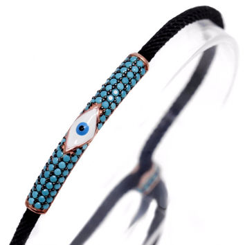 Adjustable String Evil Eye Bracelet w/ Nano Turquoise - Rose Gold Sterling Silver