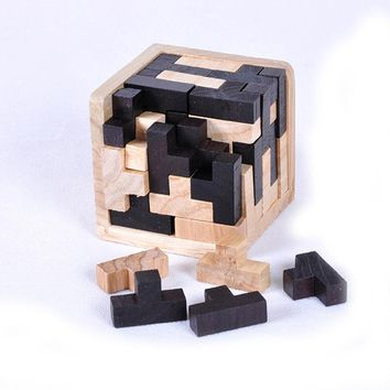 Educational Tetris Shape 3D Wooden Puzzle Toy Brain Teaser T Shape Jigsaw Puzzle Toy Kids Early Learning Geometric Shape Jigsaw