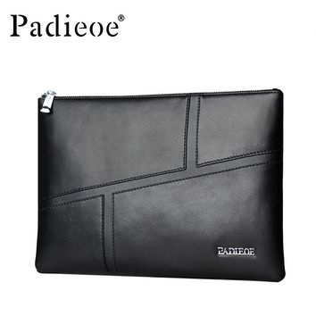 Genuine Leather Men Bag Clutches Wallet Businessmen Phone Envelope Bag Handbag Male Luxury Long Purse