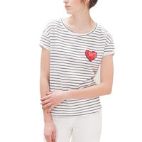 Women sweet heart sequined striped T shirt short sleeve o-neck loose tees ladies summer casual tops camisetas mujer DT770