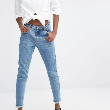 Monki | Monki Raw Edge High Waist Jeans at ASOS