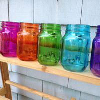 Set of Two 16-Ounce Rainbow Mason Jar Mugs