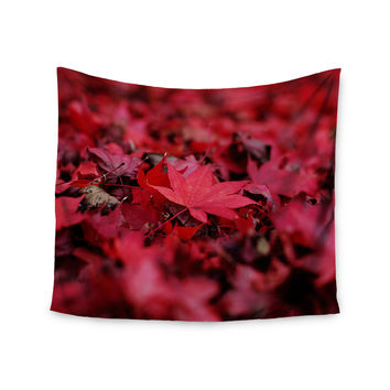 "Angie Turner ""Red Leaves"" Maroon Leaf Wall Tapestry"