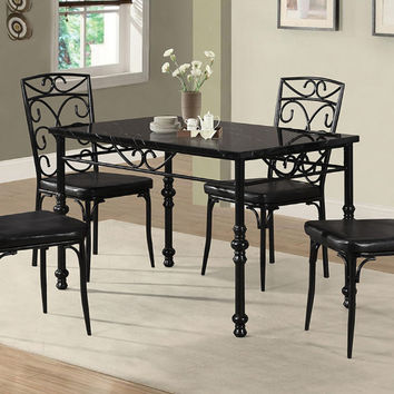 Poundex F2447-1724 5 pc black metal frame faux marble top dining table set