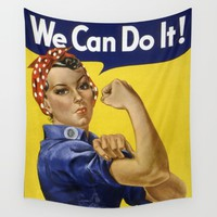 We Can Do It! Wall Tapestry by Vintage Hunter