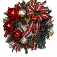 Christmas Wreath for Door, Holiday Wreath, Winter Wreath,Christmas Decor,Outdoor Wreath,Front Door Wreath,Outdoor Christmas Door Decor,Gold