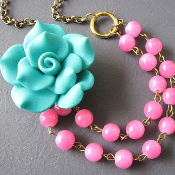 Flower Necklace Teal Jewelry Pink Necklace Stone Jewelry Bib Statement Necklace Bridesmaid Necklace Double Strand