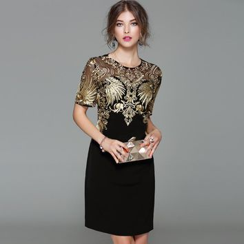 Sexy! new arrival 2017 autumn fashion women black sheath dress heavy gold line embroidery short sleeve dresses XXL XXXL